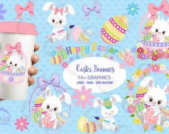 Easter Clipart, Bunny Clipart, Easter Basket Clipart, Easter Bunny Clipart, Nursery Clipart, Commercial use, AMB-1182