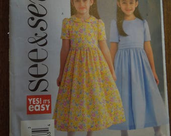 Butterick See and Sew B4098, sizes 6-8, dress, UNCUT sewing pattern, craft supplies, girls