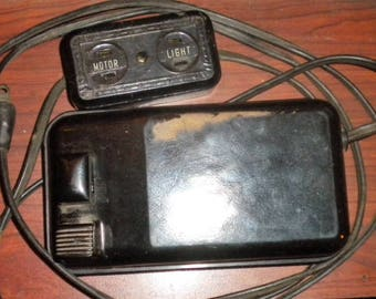 Singer Bakelite Foot Pedal #134823-001 Wired To Twin Outlet (Light/Motor) Works