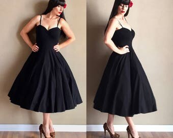 Black CHERRYBOMB Retro Strappy Tank Dress, Rockabilly Pin Up Swing Dress, 50s Bridesmaid Wedding Cocktail Party Dress by Hardley Dangerous