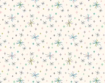 So Darling A289.1 - Retro stars on cream Lewis & Irene Patchwork Quilting Fabric