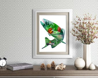 """8.5x11"""" """"Gone Fishing"""" Double Exposure Nature Landscape Watercolor Painting Giclee Print"""