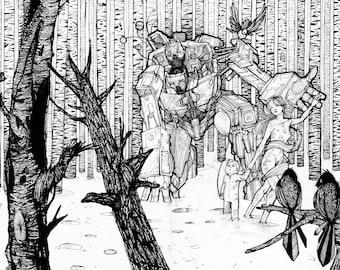Birch Forest 17x11 Original Illustration