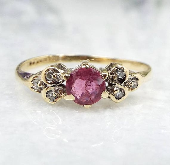 Vintage / 1988 9ct Yellow Gold Dainty Pink Ruby and Diamond Ring / Size I Pinkie