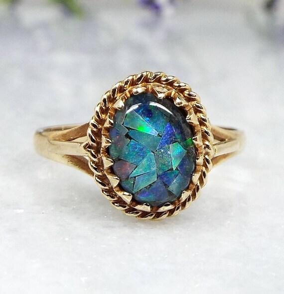 Vintage 1994 9ct Yellow Gold Striking Blue Mosaic Opal Triplet Ring / Size L