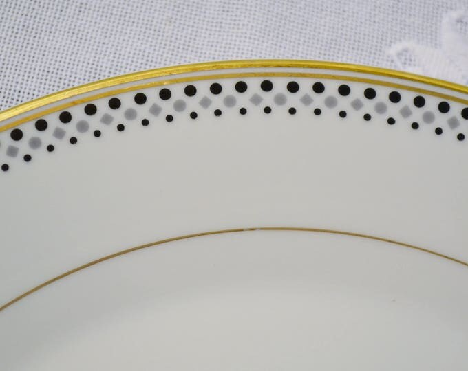 Vintage Norleans Gold Symphony Round Platter Chop Plate Black Gray Dots Diamonds Gold Rim Replacement Made in Japan PanchosPorch