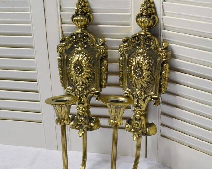Vintage Brass Candle Sconce Set of 2 Ornate Gold Tone Metal Candle Holder Hanging Wall Decor PanchosPorch