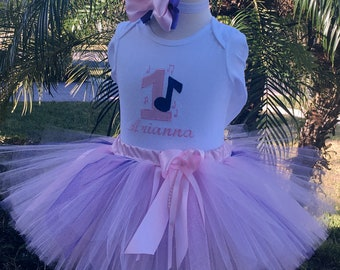 Music note 1st birthday baby girl tutu outfit pink and purple dress, Includes boutique bow hand made personalized smash cake onesie all ages