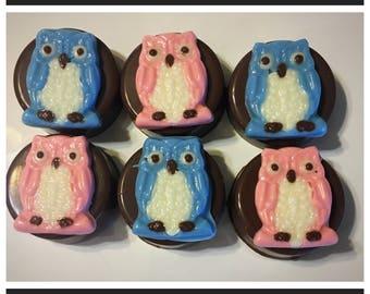 Owl chocolate covered Oreos, owl theme chocolate, owl favor