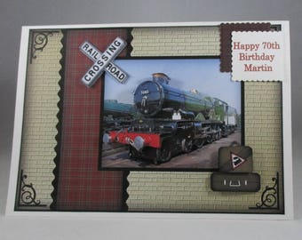 HandmadeBirthday Steam Train Card, 3D, Decoupage, personalise