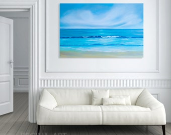 Large Seascape Painting, Abstract Ocean Canvas Art, Large Abstract Modern Sea Painting Wall Art, Blue Turquoise Coastal Beach Decor