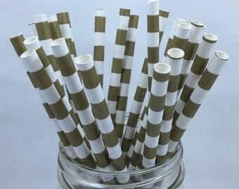 Gold Striped Paper Straws (1 dozen)