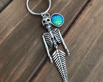 Mermaid Skeleton Key Chain/Purse Charm, Mermaid Scales, Skull, Siren, Mermaid Accessories, Summer, Beach, Ocean, Nautical, Gift