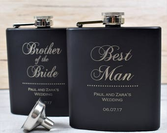 Classy Engraved Best Man Usher, Father's Hip Flask - Personalised Wedding Keepsake, Best Man Gifts, Wedding Hip Flasks, Engraved Hip Flask