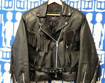 Vintage Fringe Leather Jacket Black size M/L