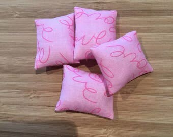 Hand made Miniature doll house soft furnishings - 12th scale sofa or scatter cushions x 4 love inscribed