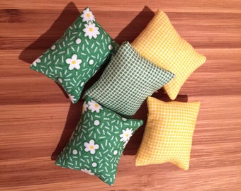 Miniature doll house 12th scale modern rectangular  scatter cushions x 5 greens and yellows