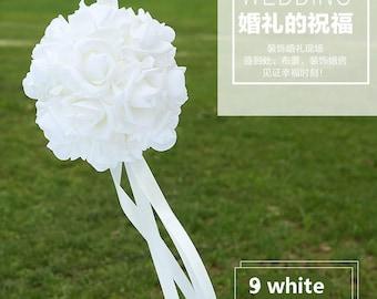 "2PCS  14cm/9"" Wedding Ceremony Decorations Foam Roses Kissing Ball Pomanders White Flower Balls For Wedding"