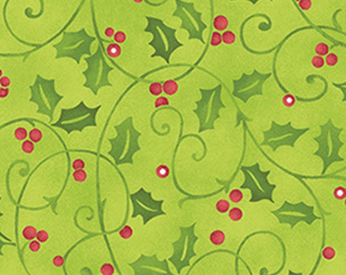 3/4 Yard REMNANT Santa's Here - Merry Holly in Willow Green - Cotton Quilt Fabric - Inspired by Nancy Halvorsen - Benartex - 6074-44 (W2977)