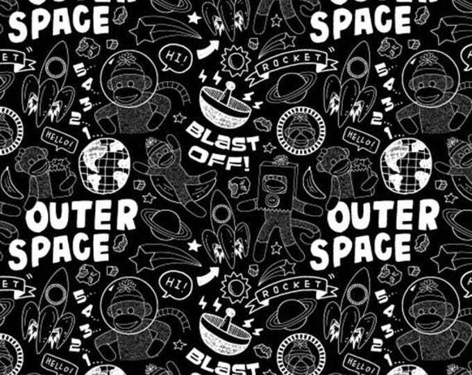 Sock Monkeys in Space - Blast Off in Black / White Chalkboard - Adorable Cotton Quilt Fabric - MY-KT for Windham Fabrics - 41171-1 (W4140)