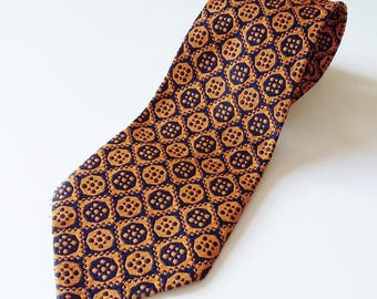 Vintage Mens Kitsch Tie John Collier Gaudy Groovy Blue Navy & Orange Geometric Pattern Smart Men's Retro 1970s Gifts For Him Guy Gift