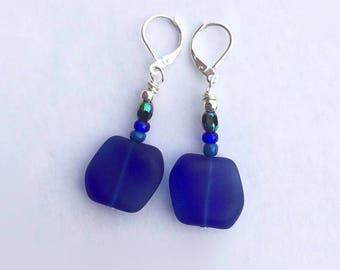 Sea Glass Earrings, Dark Blue Earrings, Mothers Day Gift, Tumbled Sea Glass Jewelry