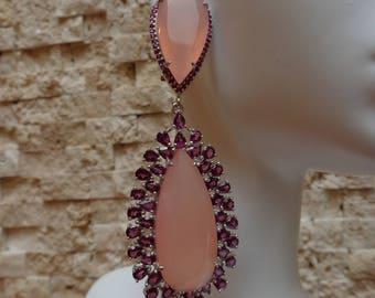 Big Statement Earrings in Pink Chalcedony and Rhodolite Garnet set in Sterling Silver