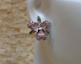 Emerald and Pink Sapphire Orchid stud earrings