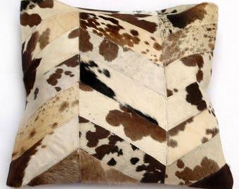 Natural Cowhide Luxurious Patchwork Hairon Cushion/pillow Cover (15''x 15'')a250