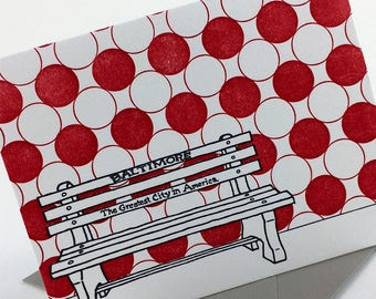 Baltimore Letterpress Card | Greatest City in America Bench | red & gray single blank card with envelope
