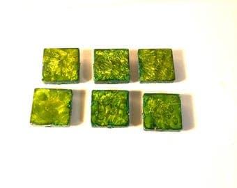Tile Magnets, Green Decor, Fridge Magnets, Alcohol Ink Decor, Square Magnets, Kitchen Decor