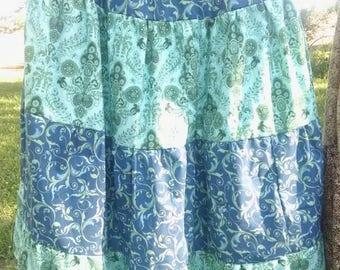 Homestead, prairie, boho, tiered skirt. Size XL to 1X Handmade. Modest