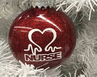 Nurse Ornament, Nurse, great gift for a nurse, can be personalized free of  charge, gift under 10, nurse heart ornament