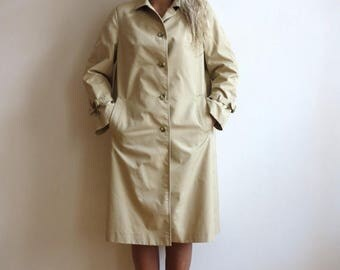 ON SALE Vintage 1980s Sand Beige Womens Trench Coat Outerwear Midi Rain Coat Medium Size