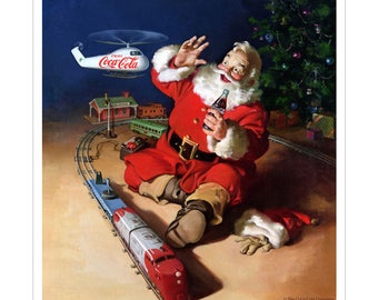 Coca-Cola Santa Helicopter Seasons Greetings Vinyl Sticker - 158783