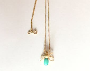 Turquoise Bee Necklace on 14 Karat Gold Chain