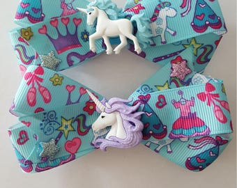 Stunning Unicorn twin Hair bow set Perfect for your princess