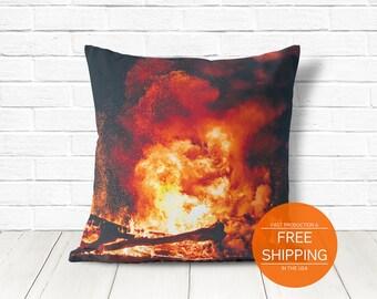 Bonfire pillow, fall decor, camping decoration, winter cushion