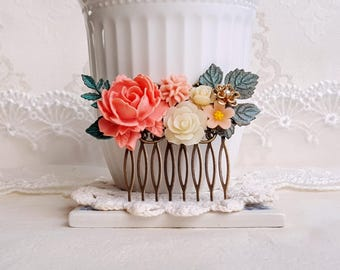 Rustic bridal hair comb Patina hair comb Peach and ivory flower collage hair comb Shabby chic
