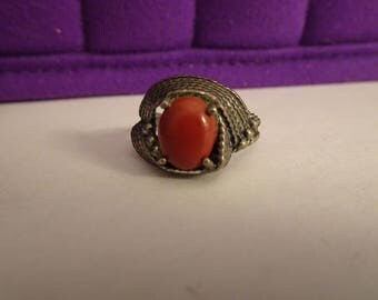 Sterling Silver and Red Jasper Ring - size 6 1/2
