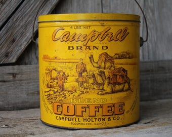Antique Campbell 4 lb Coffee Tin Pail with Wire Bail Handle - Bloomington, Illinois