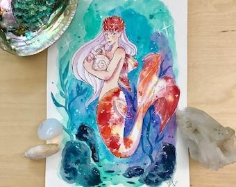 Goldfish Mermaid - Watercolor Illustration Print