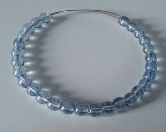 Light blue Picasso adjustable memory wire bangle