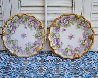 Pair of Antique Limoges A Lanternier Small Cabinet Plates Transferware Purple Violets Gold Scalloped Edges Late 1800's Victorian