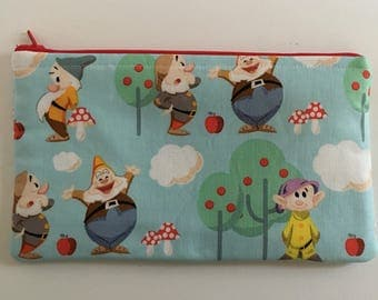 Disney-Inspired Snow White's Seven Dwarves Handmade Fabric Large Zipper Pouch/Cosmetic Bag
