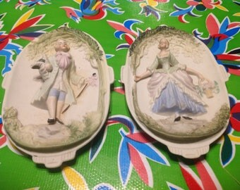 Vintage pair of Chase ceramic hand painted figurative wall plates- Occupied Japan