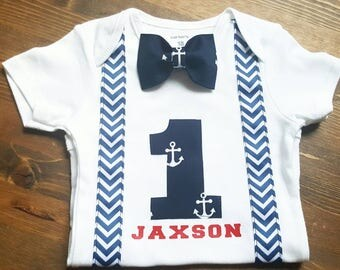 Boys First Birthday Outfit - Navy Blue Grey Birthday - Nautical Birthday Shirt - Anchor Birthday - 1st Birthday Boy - First Birthday Shirt