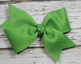 NEW Solid Jungle Green Basic Boutique Hair Bow on Lined Alligator Clip