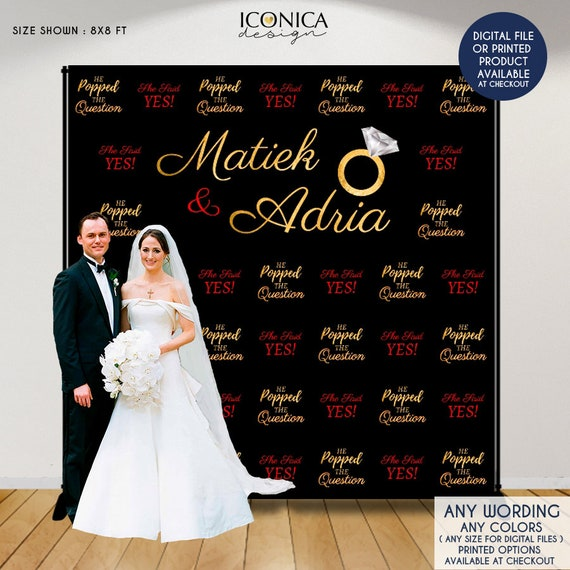 Engagement Party Photo Booth Backdrop She Said YES Custom Step And