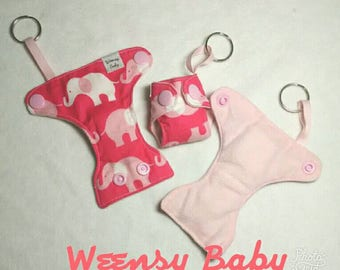 Pink Elephant print Basic Cloth Diaper Keychain diaper ornament, Diaper key chain diaper key fob